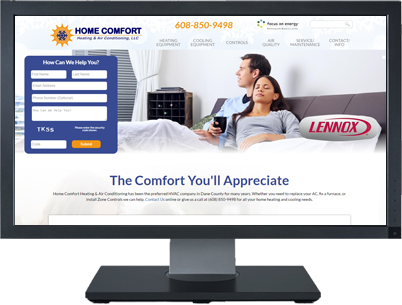 Web Design for Home Comfort Heating & Air Conditioning