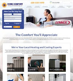 Home Comfort Heating Website Design